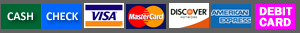 Camco accepts cash, check, visa, mastercard, discover, american express and debit